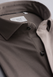 ETERNA CHEMISE À MANCHES LONGUES SLIM FIT SOFT TAILORING JERSEY TAUPE UNI