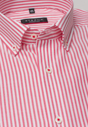 ETERNA CHEMISE À MANCHES LONGUES MODERN FIT OXFORD ROUGE/BLANC RAYÉ