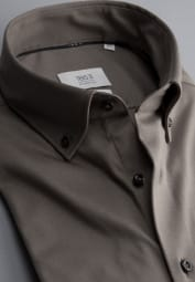 ETERNA CHEMISE À MANCHES LONGUES COMFORT FIT SOFT TAILORING JERSEY TAUPE UNI