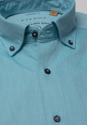 ETERNA CHEMISE À MANCHES LONGUES REGULAR FIT UPCYCLING SHIRT OXFORD TURQUOISE UNI