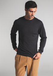 ETERNA PULL EN TRICOT AVEC COL ROND ANTHRACITE UNI