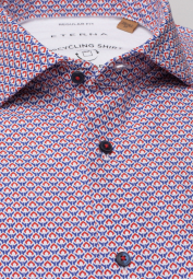 ETERNA CHEMISE À MANCHES COURTES REGULAR FIT UPCYCLING SHIRT OXFORD BLEU / ORANGE IMPRIMÉ
