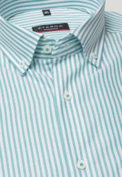 ETERNA CHEMISE À MANCHES LONGUES MODERN FIT OXFORD TURQUOISE / BLANC RAYÉ