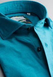 ETERNA CHEMISE À MANCHES LONGUES SLIM FIT SOFT TAILORING TWILL TURQUOISE UNI