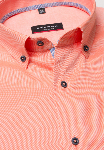 ETERNA CHEMISE À MANCHES COURTES MODERN FIT OXFORD ORANGE UNI