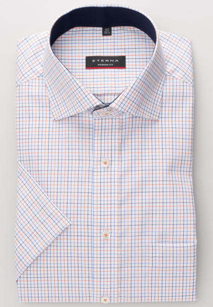 ETERNA CHEMISE À MANCHES COURTES MODERN FIT OXFORD MARINE / ORANGE À CARREAUX