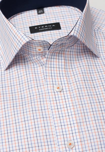 ETERNA CHEMISE À MANCHES COURTES COMFORT FIT OXFORD MARINE / ORANGE À CARREAUX