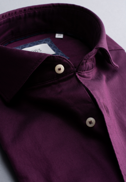 ETERNA CHEMISE À MANCHES LONGUES MODERN FIT SOFT TAILORING TWILL BOURGOGNE UNI