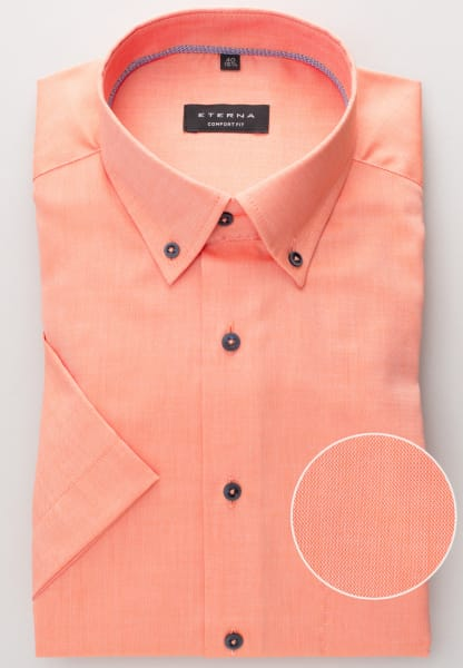 ETERNA CHEMISE À MANCHES COURTES COMFORT FIT OXFORD ORANGE UNI