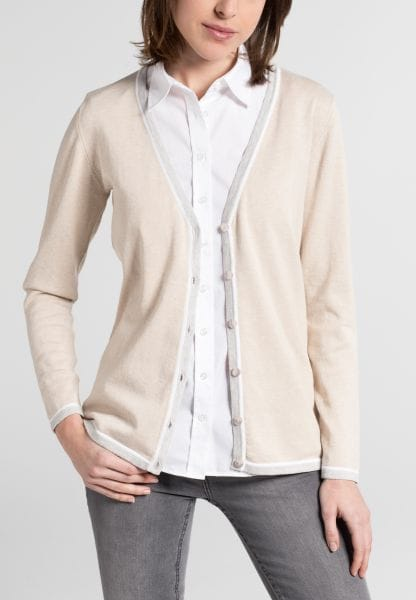 ETERNA CARDIGAN TRICOTÉ SABLE CHINÉ UNI