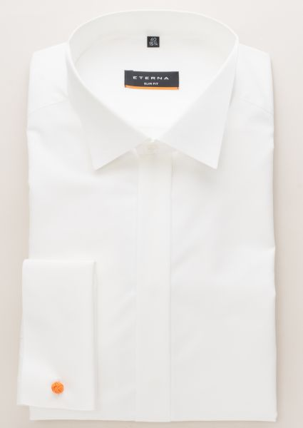 ETERNA CHEMISE Á MANCHES LONGUES SLIM FIT CHAMBRAY CHAMPAGNE UNI